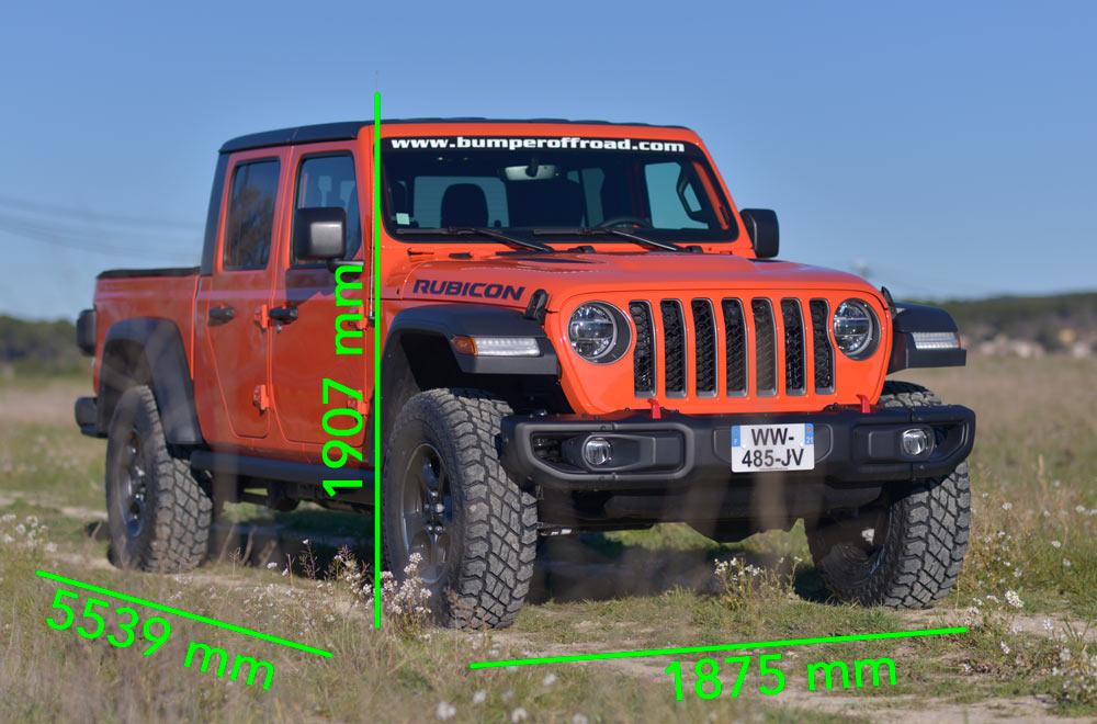 Vente Jeep Gladiator en France importation des USA dimensions